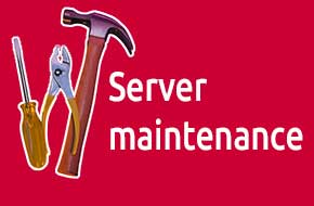 Photograph of tools with a text overlay saying server maintenance.