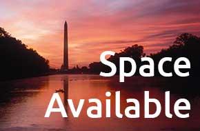 Photo of Washington Monument with text overlay saying