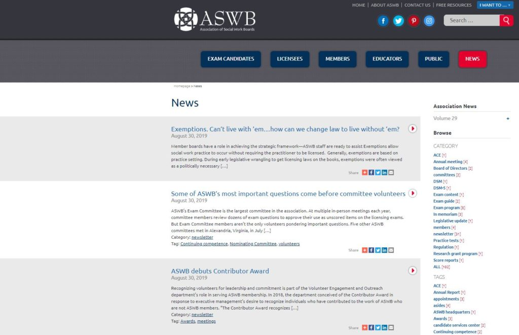 Screen capture from aswb.org taken in 2019