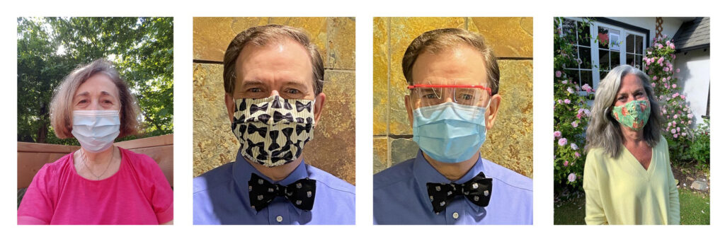 Photos of Beatrice Traub-Werner, Harold Dean, and Deborah Jones all wearing face masks