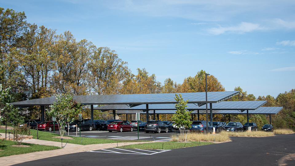 photograph of ASWB headquarters solar parking canopy