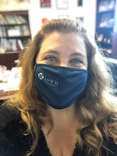 photograph of Denise Capaci wearing ASWB branded facemask