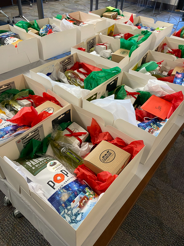 photograph of gift boxes stocked with local items