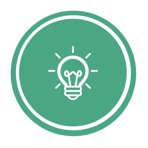 graphic of green circle with lightbulb icon