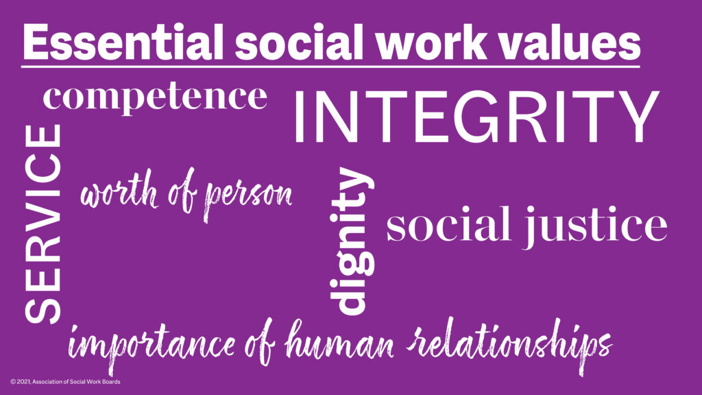 Graphic showing the essential values of social workers