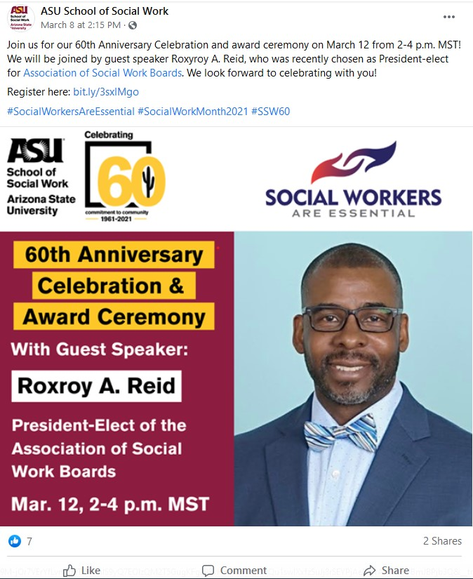 Social media post about a virtual event at Arizona State University
